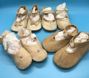 Lot 4 Pair Vintage White Pink or Tan Toddler Baby Shoes Ankle straps $15.00