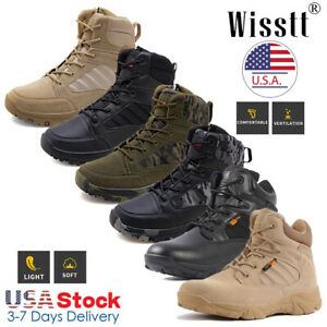 Mens Military Tactical Desert Work Boots Side Zip Hiking Motorcycle Combat Shoes