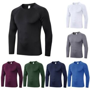 Men Compression Dry Shirt Base Layer Fitness Gym Tight Sport Long Sleeve T Shirt $11.51