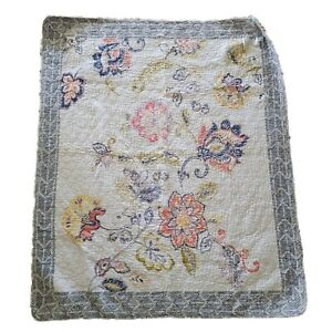 Throw Blanket In Fair Condition 53x44 Floral Double Sided Sofa Throw
