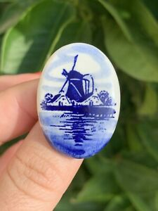 Antique brooch 19th Victorian Style Blue Enamel hand painted Ceramics Pin $25.00