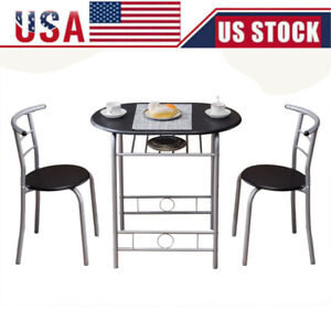 3Pcs PVC Dining Set Table 2 Chairs Bistro Pub Home Kitchen Breakfast Furniture