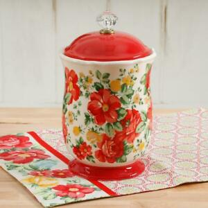 The Pioneer Woman Vintage Floral 10quot; Canister amp; Versatile w Acrylic Knob NEW $33.91