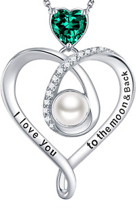 Emerald Necklace for Mom Wife Valentines Day Birthday Gifts I Love You to the Mo