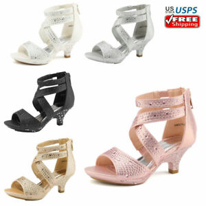 Kids Toddles Girls Fashion Dress Shoes Low Heels Sandals 1.5inch Pumps $25.75