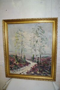 Antique Signed Theo SELHORST Knife Oil Painting Ornate Frame Abstract Scenic Art $280.00