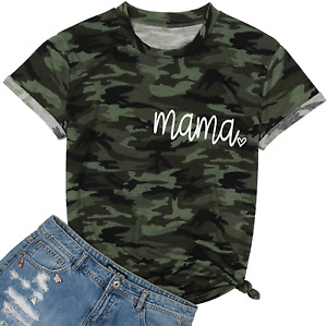 Camouflage Shirts for Women Mama Letter Printed T Shirt Heart Graphic Casual Sho