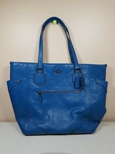 Coach Mickie Blue Leather Large Tote Bag