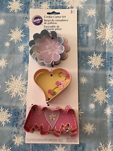 Wilton 2308 0093 Mother's Day 3 Pc Metal Cookie Cutter Set Mom Heart Flower New $8.79