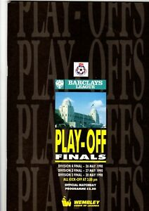 Barclays League Play off Finals Divisions 4 3 amp; 2 for 1990 Free Postage