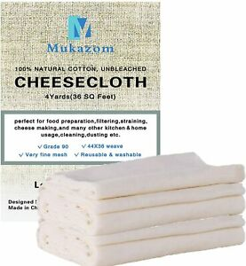 Unbleached Cheesecloth Grade 90 36 Sq Feet 100% Cotton Cheese Cloth 4 Yards $16.45