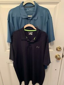 Under Armour Polo Shirts 2 XL Loose Heat Gear. Black and blue. Great shape $24.99