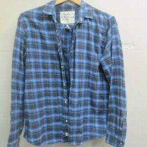 Frank Eileen Cotton Brushed Plaid Button Up Long Sleeve Shirt XL $44.50