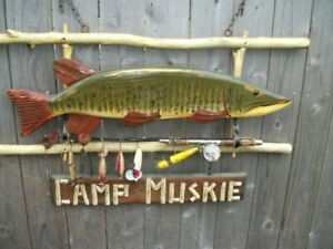 Folk Art Muskie Fish Sign Old Barn Fence Wood With Rod Reel and Old Lures