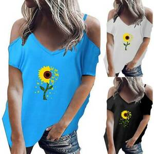 Womens Sunflower Print Cold Shoulder T Shirt Tunic Casual Loose Tee Tops Blouse $16.19
