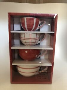 Red And White Ceramic Dry Measuring Cups With Handles Set Of 4