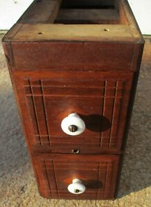 set of 2 ANTIQUE WALNUT TREADLE SEWING MACHINE DRAWERS IN CASE PORCELAIN KNOBS $24.89