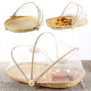 Bamboo Tent Basket Hand Woven Tray Anti Bug Food Fruit Container Net Mesh Cover