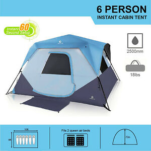 Waterproof Camping Tent 6 8 Person Family Cabin Tent With Rainfly Mud Mat Blue
