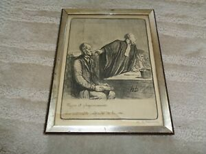 Honore Daumier lithograph A respected Citizen 1800 signed black gold wood frame $144.49