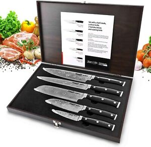Kitchen Knives Set Stainless Japanese Damascus Pattern Steel Chef Knife Gift Box