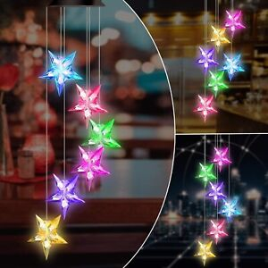 Color Changing LED Solar Star Wind Chime Lights Garden Yard Decor Waterproof $10.49