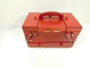 MINI SEWING BOX WOODEN ACCORDIAN STYLE WITH THREAD SPOOLS 8x5x5 $34.99
