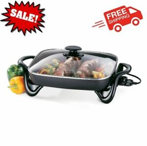 16 inch Electric Skillet With Glass Cover Kitchen Buffet Server Non Stick NEW