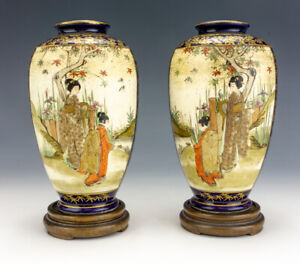 Antique Japanese Satsuma Pottery Pair Of Oriental Geisha Decorated Vases