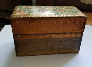 Vintage Florentia Gold Floral Hinged Wooden Box C. R. Hand Made in Italy #1614 $25.00