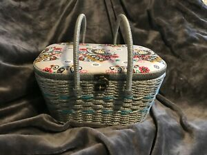 Vintage Wicker Sewing Basket w Accessories Colorful Peacocks $27.00
