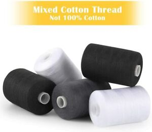 5 PCS Set Assorted Sewing Threads Spools Mixed Cotton 1000 Yards DIY Sewing Kits $6.69