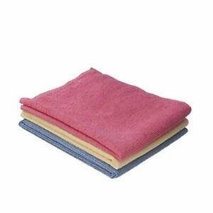 Superio Microfiber Wash Cloth 3 Pack Inch Red Blue and Yellow. 16x16
