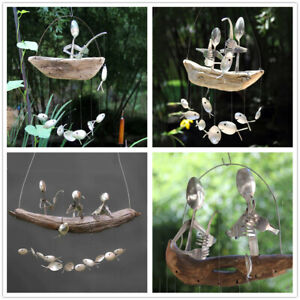 Fishing Man Spoon Fish Sculptures Hanging Wind Chime Ornament Outdoor Home Decor
