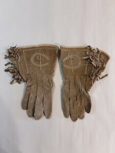 Antique Womens Or Childs Western Wear Gaunlets Ornate Cowboy Gloves With