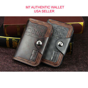 Mens Men#x27;s S4 Retro Leather Vertical Section Credit Card Holder Wallet with Hasp $9.99