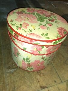 Vintage Hat Box Sewing Storage Pink Floral with Handles with Vintage Notions $50.00