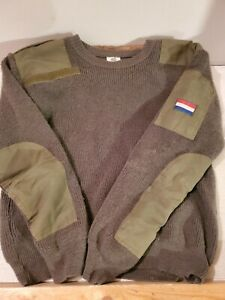 VTG French Military Wool Sweater 1990s True Vintage Size 4 Olive Green $24.99