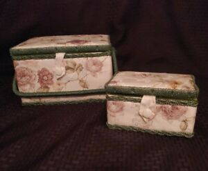 Padded Nesting Sewing Boxes Floral Fabric Rattan Green Handle Vintage 70#x27;s Style $34.00