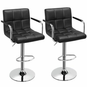 Adjustable Black Bar Stools Set of 2 Faux Leather Modern with Swivel