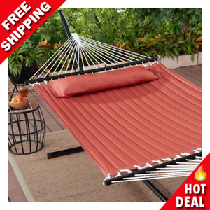 Outdoor Camping Quilted Double Hammock w Pillow 445 lb Capacity Heavy duty NEW