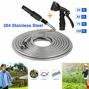 Stainless Steel Metal Garden Water Hose Pipe 25 50 75 100FT Flexible Lightweight $48.90