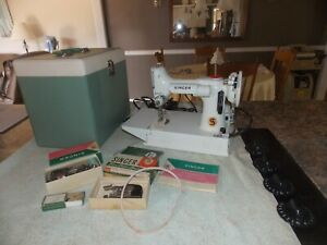 Singer Featherweight With Case Book amp; Lots Of Accessories White Pale Green???? $750.00
