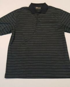 Nike Golf Dry Fit shirt Men Large black and green stripe quot;Irish Creekquot; on sleeve $19.97