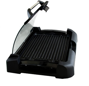 Smokeless Indoor Electric Grill Non Stick Bbq Removable W Glass Lid 15 By 11