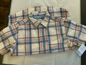 NEW CARTERS Boys Pink Blue Multi Plaid Checkered Button Up Shirt Size 8 $10.00