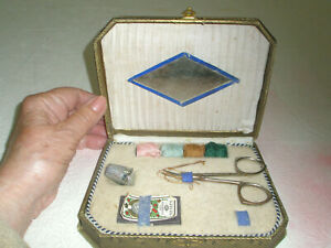 Vintage Sewing Kit Mirror Thread Scissors Needles Thimble Made in Germany $21.25