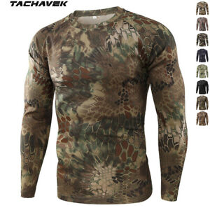 Army Mens Tactical Combat Long Sleeve T Shirt Military Outdoor Camouflage Casual