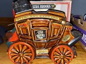 COLLECTIBLE EZRA BROOKS DECANTER BOTTLE OVERLAND EXPRESS STAGECOACH With Box