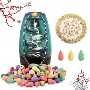 Ceramic Backflow Incense Holder Waterfall Incense Burner with 120 Incense Cones $18.25